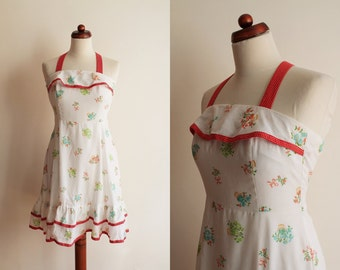 Vintage Rockabilly Dress - 1960's/1970's Floral Print Garden Party Dress - Size XS