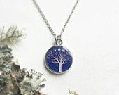 Silver Moonphase Necklace, Purple Pendant, Moon Phase Jewelry, Tree Art Pendant