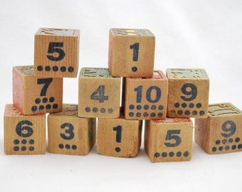 Vintage 1940's Numbers Blocks Reading Counting Blocks Print Character Graphics - Carved Character Scenes - Lot of 11 Wood Stacking Blocks