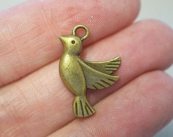5 Metal Antique Bronze Bird Charms - 23mm