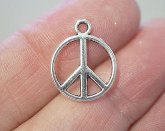 10 Metal Antique Silver Peace Charms - 14mm