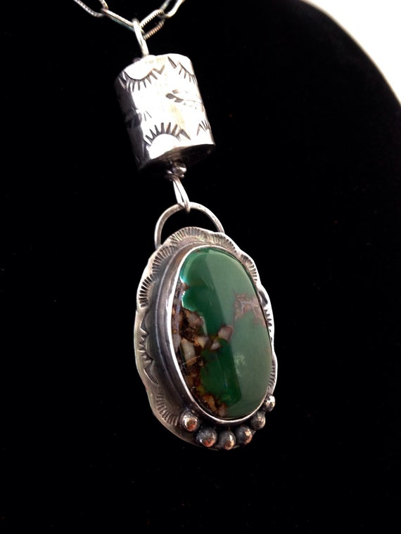 Handmade Jewelry, Green Royston Turquoise, Pendant, Sterling Silver, Southwestern, One of a Kind Necklace