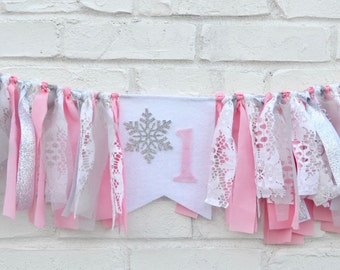 Winter Onederland Birthday Banner - Girl Winter Onederland - snowflake birthday - pink snowflake banner - winter onederland banner -