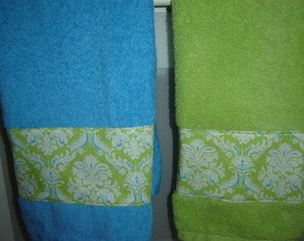 Damask-type fabric on lime green or aqua/turquoise hand/dish towel, spring/summer decor, cotton terry, hostess, mom or shower gift, under 10