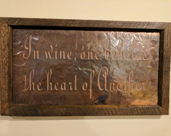 In Wine One Beholds the Heart of Another - Christmas Copper Engraving, Friend Wine Christmas Gift, Housewarming Gift