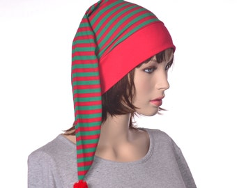 Nightcap Red Green Stripes Christmas Candy Cane Night Cap Sleeping Hat Head Underwear Men Women Adult Christmas Stocking Cap