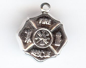 FIREFIGHTER BADGE Charm. Stamped. Sterling Silver Plated. One-Sided.