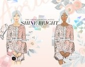 Digital Clip Art  Shine Bright Peach Pink Gray floral fashion watercolor glitter PNG for Small CU  Printed Planner Stickers Invitations