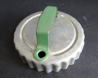 Vintage Aluminum Biscuit Cookie Cutter with Green Raised Handle - Fluted Ruffled Crimped Edges - Kitchen Decor - Collectible Cooking Baking