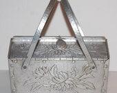Rare Hammered Aluminum Handbag Box Purse