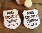 Police Style Ring Security Badge SET of 2 Badges Personalized with NAMES and Wedding Date Lapel Pin for Ring Bearer Usher Junior Groomsman