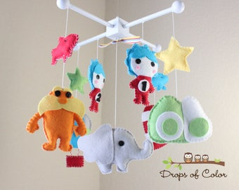 Baby Crib Mobile, Baby Mobile, Dr. Seuss Mobile, Inspired by Dr. Seuss Story Books, Cat in the Hat, Green Eggs and Ham, Lorax, Horton