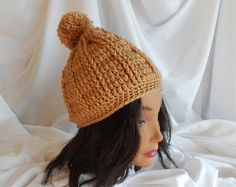 Crochet Pom Pom Hat Beanie - Camel Tan - Woman's Fashion Hat