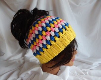 Messy Bun Hat Pony Tail Hat - Crochet Woman's Fashion Hat - Yellow, Blue, Pink and White