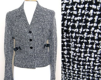 ON SALE Vintage 90s Black White Tweed Button Down Blazer