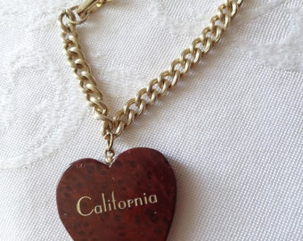 Vintage souvenir bracelet wood heart from Yosemite California