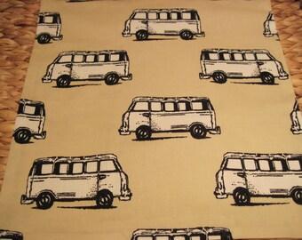 "14"" x 14"" PILLOW COVER - Celebrate Nostalgic VW Camper Vans in Black & White on Tan"