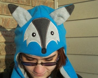 Fox Fleece Hat with Long Arms and Hand Pockets