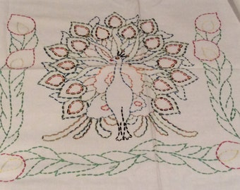 Vintage Embroidered Peacock Table Cover Pillow Cover, Vintage Linens, Vintage Embroidery, Vintage Peacock
