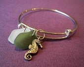 Seahorse and Genuine Sea Glass Bracelet, Alex and Ani Style Expandable Bangle Bracelet