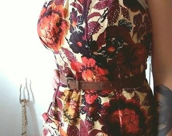 Gorgeous 1970s Cotton Flower Print Ruffle Beige Burgundy Strap Long Dress L