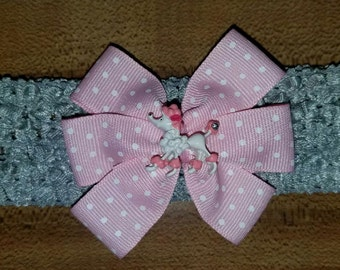 Pink Poodle Swiss Dot Bow on Gray Baby Band