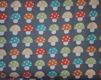 Woodland Pals by Ann kelle for Robert Kaufman Fabrics mushrooms on grey quilt fabric