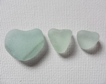 3 pretty sea foam sea glass hearts - English beach finds
