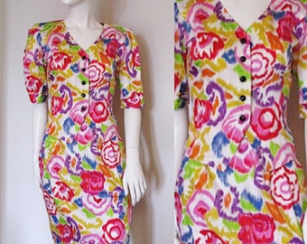 Vintage Ungaro Abstract Floral Pencil Skirt and Top Suit Set with Short Sleeves and Button Front