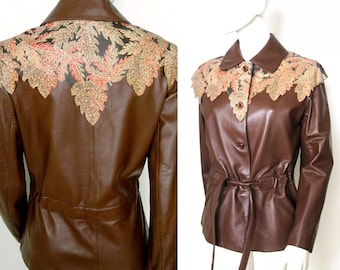 Beautiful Vintage 1970s Belted Leather Jacket with Painted Leather Leaves Around the Shoulders