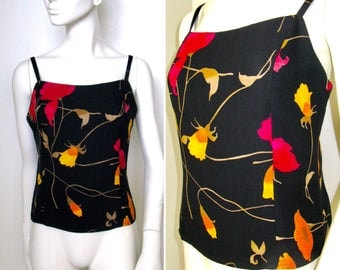 Vintage 1980s Sonia Rykiel Paris Black Floral Low Back Sleeveless Top