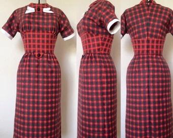 Rockabilly 1950s inspired plaid tartan wiggle dress
