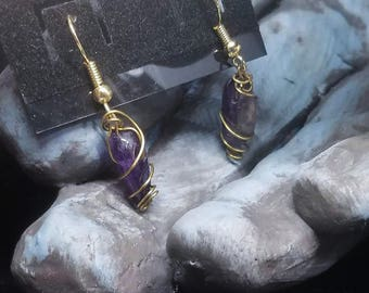 OOAK - Wire Wrapped Amethyst Tooth Earrings - Dangles = Awesome! - Amethyst Jewelry - Wire Wrapped Gemstones - Gold Wire Wrapped - Purple