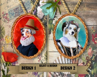 Australian Shepherd - Jewelry - Pendant - Brooch – Dog Jewelry -Dog Jewellery – Dog Pendant – Dog Brooch - Handcrafted Porcelain