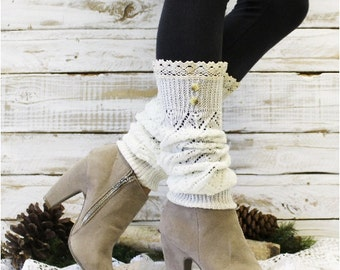 Leg warmers lace,  ivory | socks for tall boots | knit woman boho style romantic fashion | boot cuffs toppers | shabby chic LW29