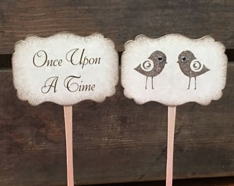 Set of 12 Double-Sided Love Bird - Once Upon A Time - Happily Ever After - Cupcake Picks - Food Picks - Wedding - Bridal Shower
