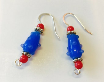 Blue and orange lampwork glass beads and sterling silver drop earrings