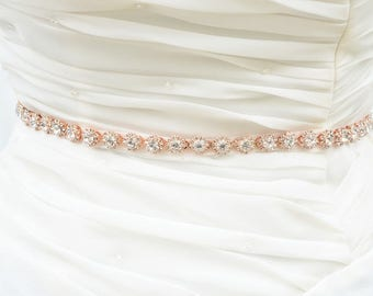 ROSE GOLD Wedding Belt, Bridal Belt, Sash Belt, Crystal Rhinestones sash belt
