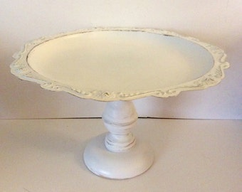 Pedestal Cake Stand - Painted White  - Shabby Cottage Chic - Distressed - Ornate Cake Plate - Romantic - French Cottage Farmhouse - Wedding