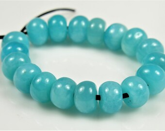 Beautiful ~ Natural Peruvian Vibrant Sky Blue Amazonite Rondelle Bead - 6mm x 4mm - 18 beads - B6093