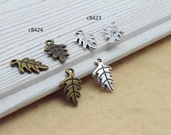 100pcs 9x15mm The Leaves Antique Bronze Retro Pendant Charm For Jewelry Bracelet Necklace Charms Pendants C8424-C8423