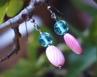Pink and Blue Vintage Glass Earrings