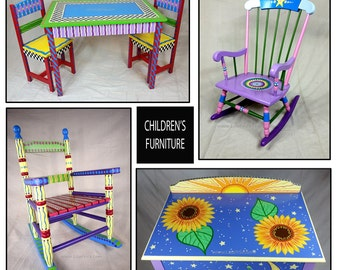 Hand Painted Furniture, Custom Hand Painted Furniture, Colorful Hand Painted Furniture, Hand Painted Children's Furniture