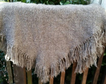 Natural wool triangle shawl