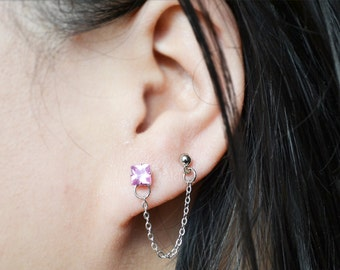 Pink Geometric Double Lobe Cartilage Earring (Single Side)