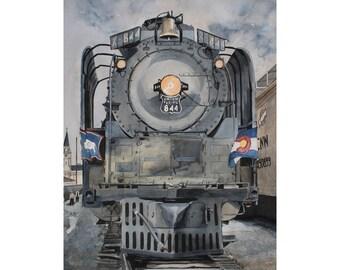 ORIGINAL PAINTING Union Pacific WYCO - Train in Wyoming Colorado