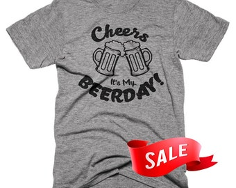 XL ON SALE - Mens Cheers Its My Beerday Funny Birthday T-Shirt Gifts For Him Beer Stein Graphic Tees Vintage T Shirt Super Soft Funny Tees