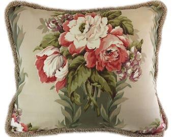 1940's vintage floral fabric pillow