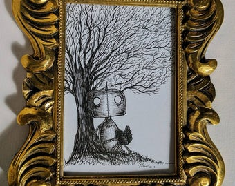 Robot reading under a tree- Original ink drawing in gold frame