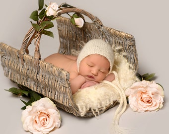 Newborn Baby Bonnet Hat Photo Prop, Knit Infant Bonnet Any Color, MADE TO ORDER